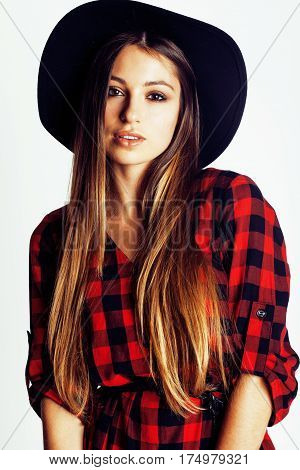 young pretty brunette girl hipster in hat on white background casual close up dreaming smiling. real american modern woman, lifestyle normal people concept