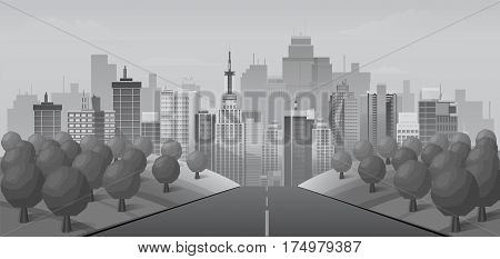Grey Road to urban city , vector illustration for you project