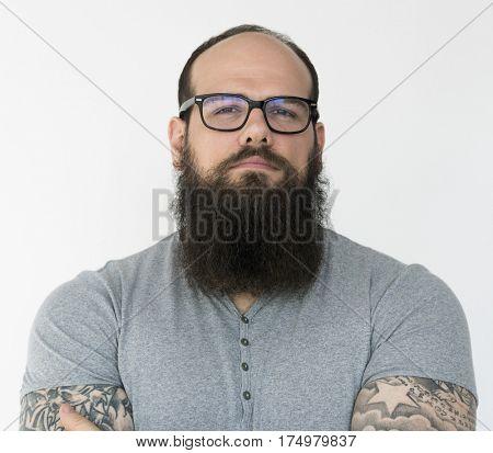 Confident beard man boldness casual studio portrait poster