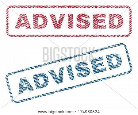 Advised text textile seal stamp watermarks. Blue red fabric vectorized texture. Vector caption inside rounded rectangular banner. Rubber sticker with fiber textile structure.