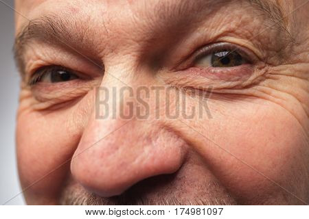 Man With Mustache Looking At The Camera Winking
