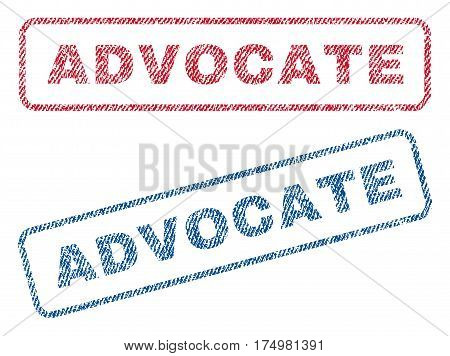Advocate text textile seal stamp watermarks. Blue red fabric vectorized texture. Vector tag inside rounded rectangular banner. Rubber emblem with fiber textile structure.