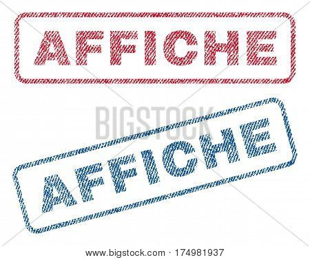 Affiche text textile seal stamp watermarks. Blue red fabric vectorized texture. Vector tag inside rounded rectangular banner. Rubber emblem with fiber textile structure.