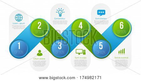 Infographics with 6 steps milestone, colorful blue and green bright design, vector template