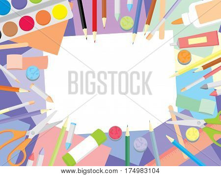 Kids craft supplies background - education and enjoyment concept. Art workshop for kids top view background