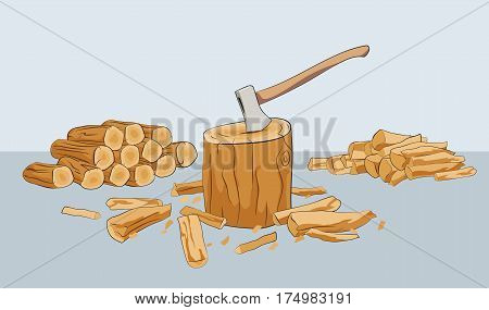Chopped firewood logs with stump and axe