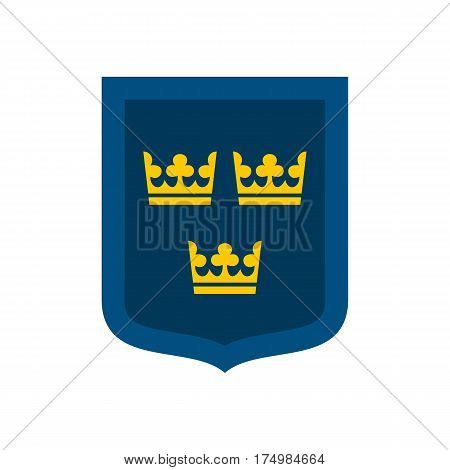 Coat of arms of Sweden icon isolated on white background vector illustration