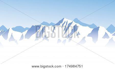 Blue mountain range panorama - Mount Everest. Seamless border background