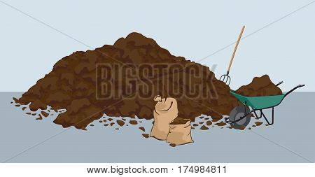 Heap of muck - manure. Organic fertilizer farming. Biodynamic agriculture