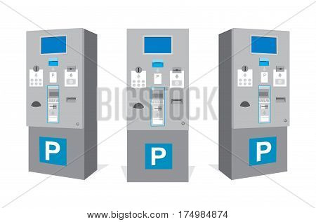 Parking ticket machine at garage. Set of parking vending machine from different sides