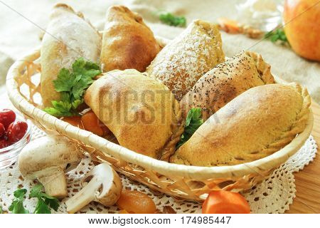 Russian pirozhki, baked patties or pies on basket with cheese and mushrooms