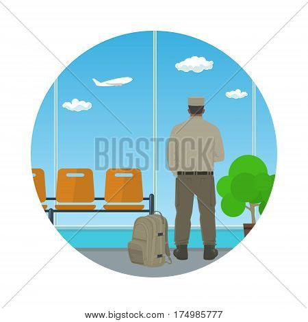 Man in Uniform Looking out the Window in a Waiting Room ,Icon Waiting Hall with a Man, Flat Design ,Vector Illustration