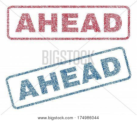Ahead text textile seal stamp watermarks. Blue red fabric vectorized texture. Vector caption inside rounded rectangular banner. Rubber sticker with fiber textile structure.