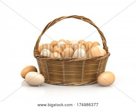 Chicken eggs in rattan basket. 3d illustration