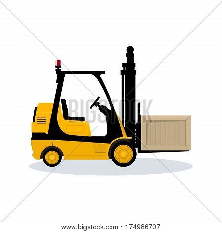 Forklift Truck Isolated on White Background ,Vehicle Forklift Picks up a Box ,Vector Illustration