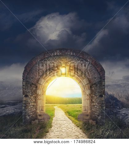 Mysterious Gate Entrance.  New Life Or Beginning Concept
