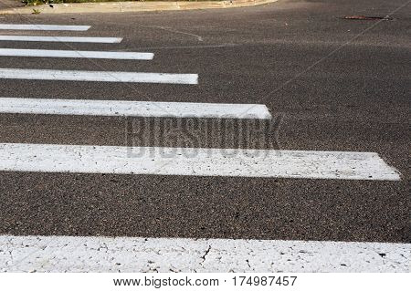 Crosswalk. Pedestrian crossing marking.