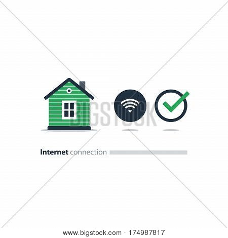 Home Wi-Fi connection concept, wireless internet access icons, smart house. Flat design vector illustration, network installation