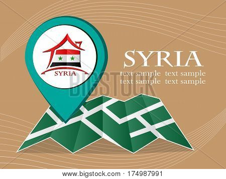 map with pointer flag Syria vector illustration eps 10.
