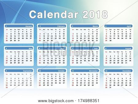 Calendar 2018. Set Of Simple Planning Calendar For Year 2018. Illustration Template.