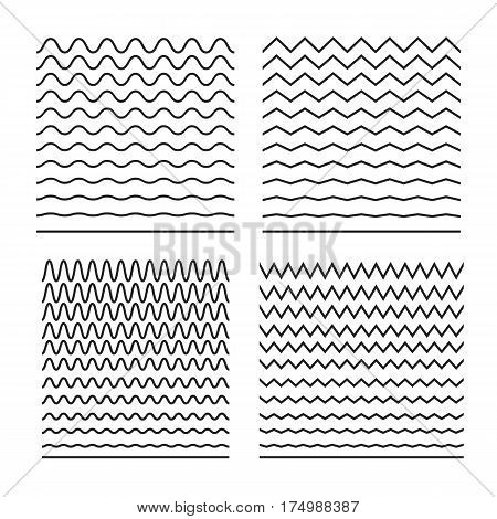 Abstract curvy lines, zigzag, criss cross. Horizontal elements for wrapping paper