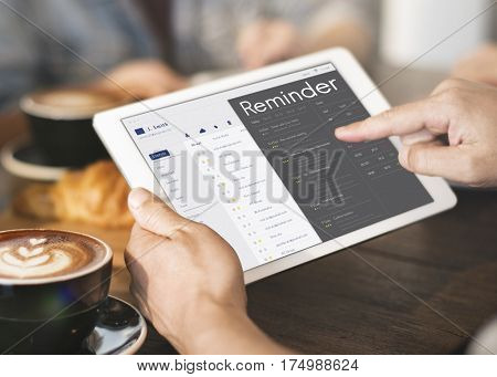 Graphic of personal organizer appointment schedule on digital tablet