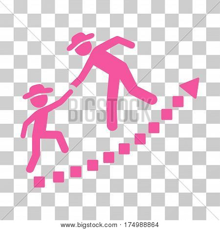 Gentlemen Education Growth icon. Vector illustration style is flat iconic symbol, pink color, transparent background. Designed for web and software interfaces.