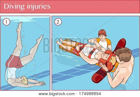 Vector illustration of a Diving injuries .