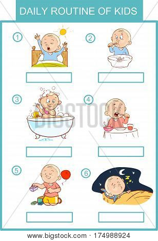 daily routine of kids  colored vector illustration