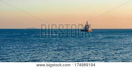 Coast Guard Vessel Emitting Black Smoke Cruising In Istanbul Bosphorus