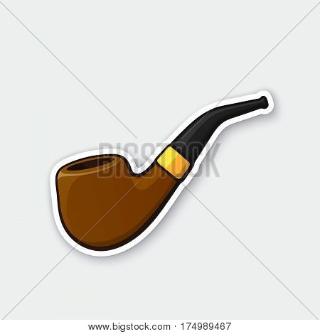 Vector illustration. Hipster retro smoking pipe. Vintage tobacco pipe. Sticker in cartoon style with contour. Decoration for greeting cards patches prints for clothes badges posters emblems