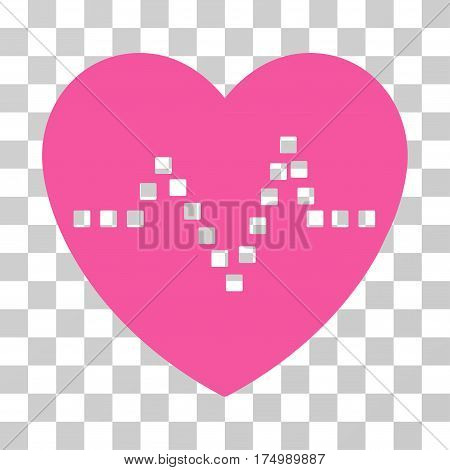 Heart Pulse icon. Vector illustration style is flat iconic symbol, pink color, transparent background. Designed for web and software interfaces.