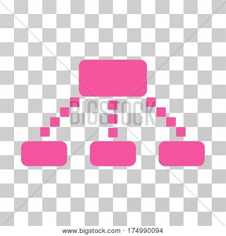 Hierarchy Scheme icon. Vector illustration style is flat iconic symbol, pink color, transparent background. Designed for web and software interfaces.