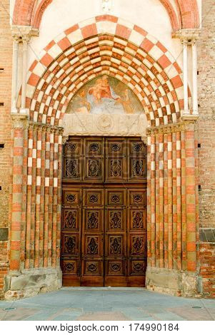 Alba, Italy - 12 July 2012: Entrance door of San Domenico church at Alba on Piedmont Italy