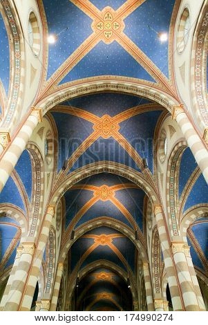 Alba, Italy - 12 July 2012: Interior of cathedral San Lorenzo at Alba on Piedmont Italy