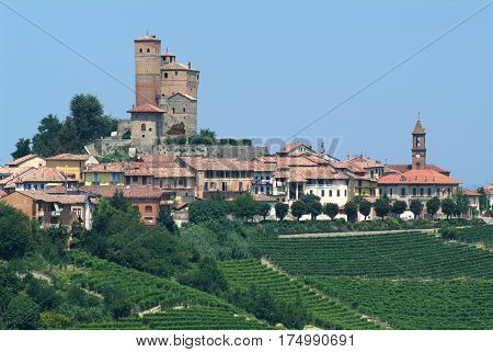 Serralunga d'Alba, Italy - 4 July 2012: The village and the fort of Serralunga d'Alba in Piedmont, Italy