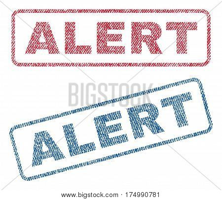 Alert text textile seal stamp watermarks. Blue, red fabric vectorized texture. Vector tag inside rounded rectangular banner. Rubber sticker with fiber textile structure.