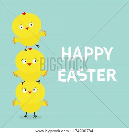 Chicken pyramid family set. Farm animal. Happy Easter. Cute cartoon funny character. Three baby chick bird friends. Greeting card. Blue background. Flat design. Vector illustration