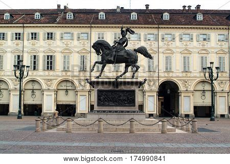 Torino,Italy - 3 July 2010: San Carlo square with statue of Emanuele Filiberto at Torino on Italy