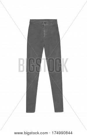 Gray Skinny High Waist Jeans Pants, Isolated On White Background