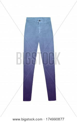 women's high waisted blue purple gradient jeans pants isolated on white background