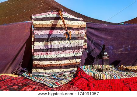 Closeup On Berber Nomad Tents On Morocco Desert