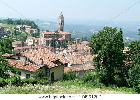 Monforte d'Alba, Italy - 16 July 2010: The Village of Monforte d'Alba in Piedmont, Italy