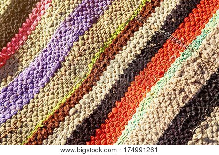 Closeup view on coloreful berber nomad carpet