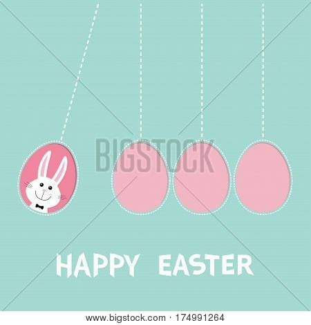 Happy Easter text. Hanging pink painting egg set. Bunny rabbit hare. Dash line. Perpetual motion mobile. Greeting card. Flat design style. Cute cartoon character. Blue background Vector illustration