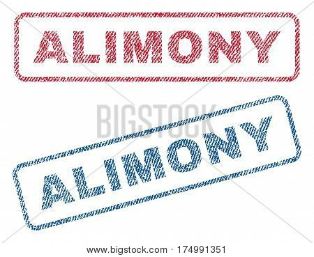 Alimony text textile seal stamp watermarks. Blue, red fabric vectorized texture. Vector caption inside rounded rectangular shape. Rubber emblem with fiber textile structure.
