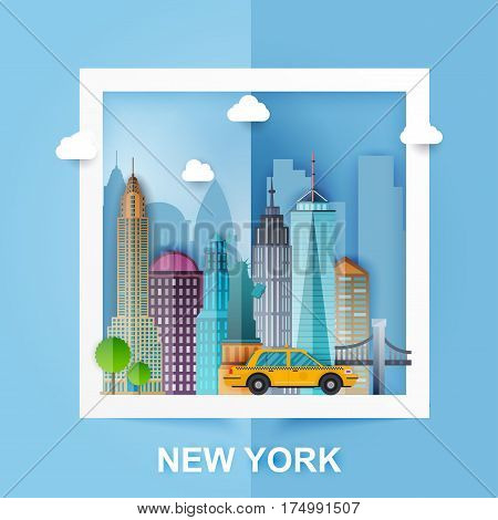 New York. Skyline and vector landscape of buildings and famous landmarks. Paper Style. Vector illustration.