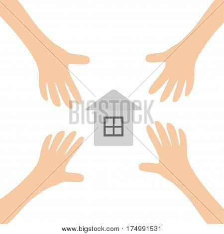 Four Hands arms reaching to paper house home sign symbol. Taking hand. Close up body part. Business card. Flat design. Wealth concept. White background. Isolated. Vector illustration