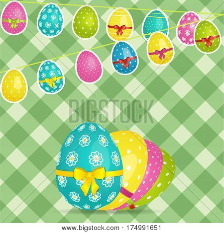 Easter Green Crossed Stripes Background with Egg Shaped Bunting and Decorated Eggs