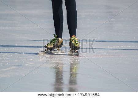 Ice skates, winter sport - green colourful boots, telephoto